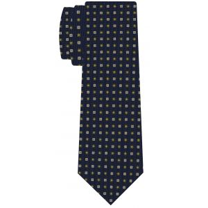 White, Yellow Gold & Olive Green on Dark Navy Blue Macclesfield Print Pattern Silk Tie #MCT-556