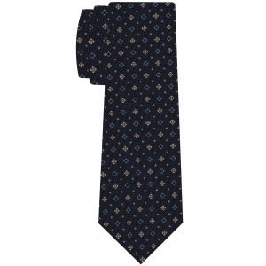 Sky Blue, Yellow Gold & White on Dark Navy Blue Macclesfield Print Pattern Silk Tie #MCT-557