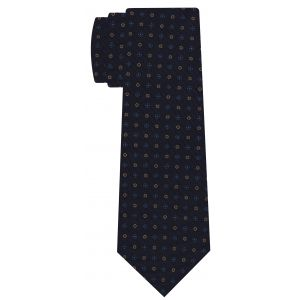 Blue, Sky Blue, Light Yellow & Red on Dark Navy Print Pattern Silk Tie #MCT-585