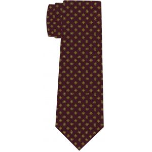 Yellow Gold & Soft Blue on Burgundy Print Pattern Silk Tie #MCT-592