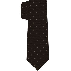 Off-White on Dark Chocolate Macclesfield Printed Wool Tie #MCWT-9