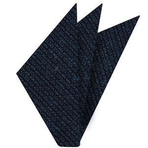 Dark Navy Blue Shantung Grenadine Grossa Silk Pocket Square #SHGP-2