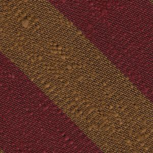 Dark Red & Dark Gold Shantung Wide Stripe Silk Pocket Square #SHBSP-1