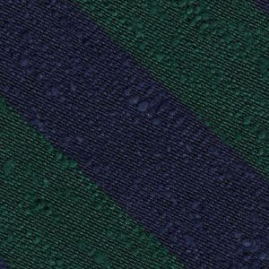 Forest Green & Navy Blue Shantung Wide Stripe Silk Pocket Square #SHBSP-2