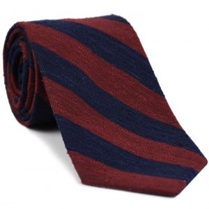 Dark Navy & Dark Red Shantung Wide Stripe Silk Tie #SHBST-3