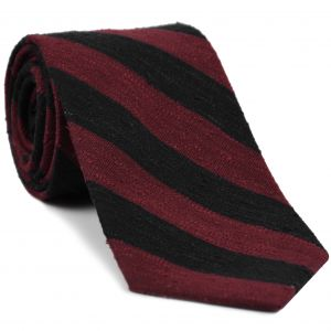 Dark Red & Black Shantung Wide Stripe Silk Tie #SHBST-4