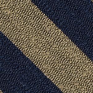 Navy Blue & Sand Shantung Wide Stripe Silk Pocket Square #SHBSP-5