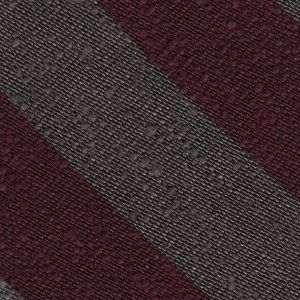 Burgundy & Charcoal Gray Shantung Wide Stripe Silk Tie #SHBST-6