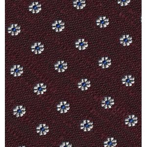 White & Blue on Burgundy Shantung Pattern Silk Pocket Square #SHPP-1