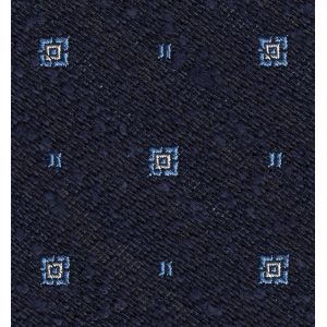 White & Sky Blue on Dark Navy Shantung Pattern Silk Pocket Square #SHPP-2