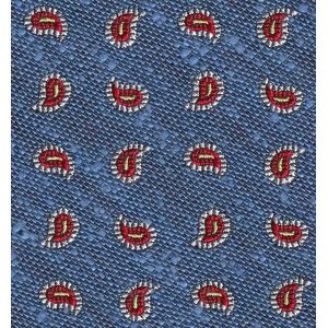 Red & White on Sky Blue Shantung Pattern Silk Pocket Square #SHPP-3