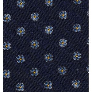 Sky Blue & Yellow Gold on Dark Navy Blue Shantung Pattern Silk Pocket Square #SHPP-4