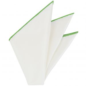 Natural White Thai Silk With Lime Green Contrast Edges Pocket Square #THSCP-23
