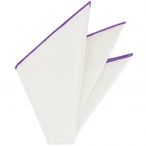 Natural White Thai Silk With Purple Contrast Edges Pocket Square #THSCP-24