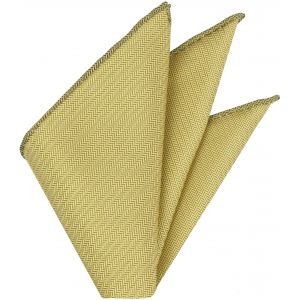 Light Yellow Herringbone Silk Pocket Square# VPS-10