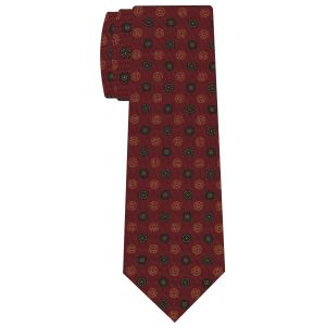 Sage, Dark Olive Green, Yellow Gold on Dark Red Macclesfield Printed Silk Tie #MCT-563