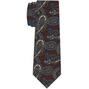 Off-White, Yellow Gold & Blue on Chocolate Macclesfield Printed Silk Tie #MCT-568