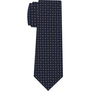 White & Red on Navy Blue Macclesfield Printed Silk Tie #MCT-569