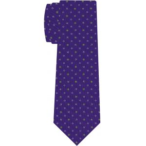 White & Green on Purple Macclesfield Printed Silk Tie #MCT-571