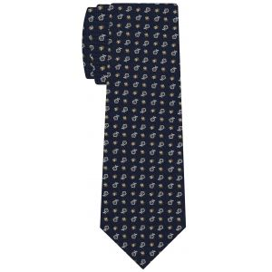 White & Dark Yellow Gold on Navy Blue Macclesfield Printed Silk Tie #MCT-573