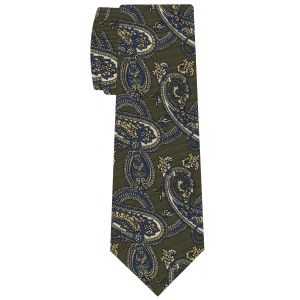 Blue, Off-White & Light Yellow on Olive Green Macclesfield Printed Silk Tie #MCT-574