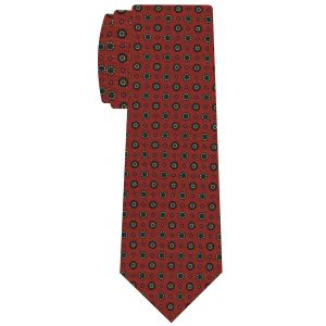 Dark Green, Pink, Light Yellow, Blue on Burnt Orange Macclesfield Printed Silk Tie #MCT-575