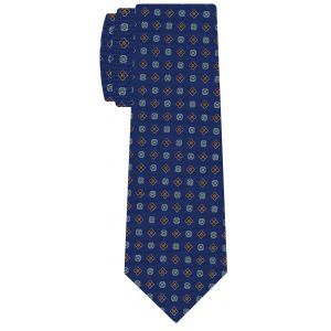 Dark Red, Olive Green, Blue & White on Blue Macclesfield Printed Silk Tie #MCT-578