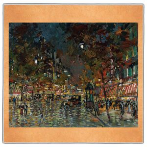 Paris at Night - Konstantin Korovin Pocket Square #ARTP-21A