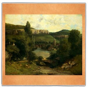 View of Ornans - Gustave Courbet Pocket Square #ARTP-27A