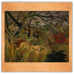 Tiger in a Tropical Storm - Henri Rousseau Pocket Square #ARTP-28A