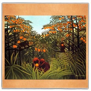 Monkeys In The Jungle - Henri Rousseau Pocket Square #ARTP-30A