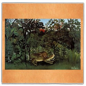 The Hungry Lion Throws Itself on the Antelope - Henri Rousseau Pocket Square #ARTP-31A