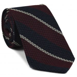 Dark Red, Midnight Blue & Off-White Classic Grenadine Grossa Stripe Silk Tie #4