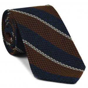 Dark Burnt Orange, Dark Navy Blue & Off-White Classic Grenadine Grossa Stripe Silk Tie #5