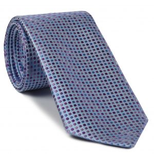 Blue, Lavender & Violet on Light Blue English Dot Silk Tie #EDT-10
