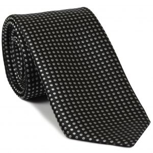 Silver on Black English Dot Silk Tie #EDT-25