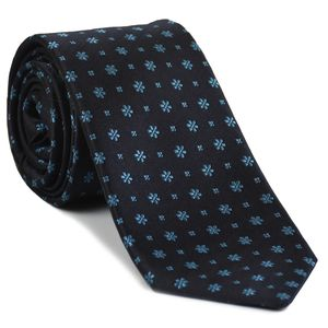 Sky Blue on Midnight Blue Classic Flower Silk Tie #FFFT-1