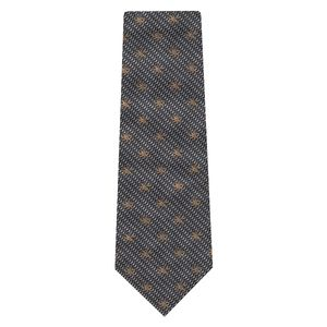 Off-White, Dark Gray & Charcoal Gray Flower Silk Tie #FT-19