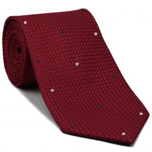 Red Grenadine Grossa with White & Black (Hand Sewn) Pin Dots Silk Tie #GGDT-1 (1,37)