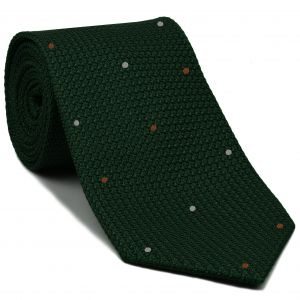 Forest Green Grenadine Grossa with Chocolate & Silver (Hand Sewn) Pin Dots Silk Tie #GGDT-16 (31,2)