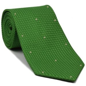 Bottle Green Grenadine Grossa with Brown Silver (Hand Sewn) Pin Dots Silk Tie #GGDT-17 (34)