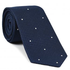 Soft Navy Blue Grenadine Grossa (Hand Sewn) Pin Dots Silk Tie #GGDT-11