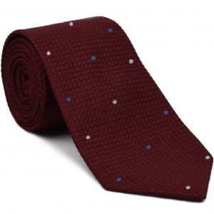 Dark Red Grenadine Grossa with White & Blue (Hand Sewn) Pin Dots Silk Tie #GGDT-2 (1,4)