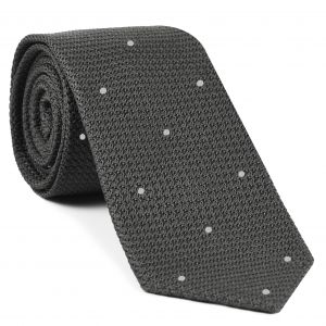 Charcoal Gray Grenadine Grossa with White (Hand Sewn) Pin Dots Silk Tie #GGDT-20 (1)