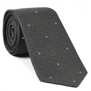 Charcoal Gray Grenadine Grossa with Sky Blue (Hand Sewn) Pin Dots Silk Tie #GGDT-20 (3)