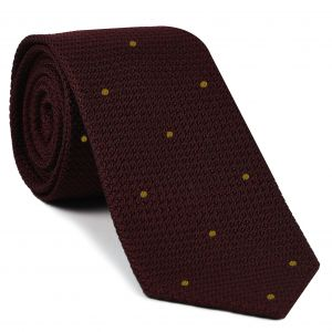 Burgundy Grenadine Grossa with Gold (Hand Sewn) Pin Dots Silk Tie #GGDT-3 (26)