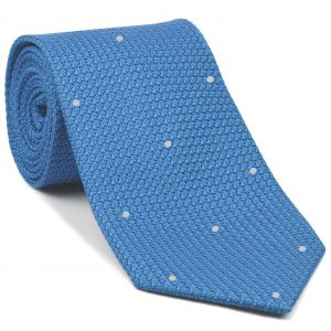 Light Oxford Blue Grenadine Grossa with White (Hand Sewn) Pin Dots Silk Tie #GGDT-36 (1)