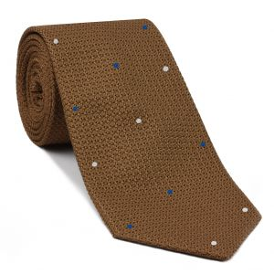 Chocolate Grenadine Grossa with White & Sky Blue (Hand Sewn) Pin Dots Silk Tie #GGDT-4 (1,3)