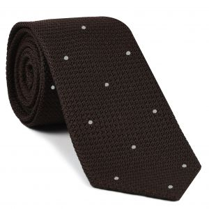 Bitter Chocolate Grenadine Grossa with White (Hand Sewn) Pin Dots Silk Tie #GGDT-6 (1)