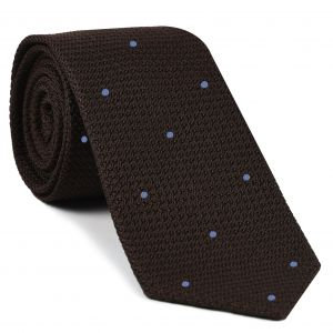 Bitter Chocolate Grenadine Grossa with Sky Blue (Hand Sewn) Pin Dots Silk Tie #GGDT-6 (3)